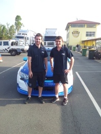 2014: Matt Stone and Todd after the first ever Supercar test day